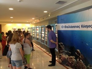 A photo of children visiting the Exhibit from HELMEPAs last Campaign stop, the island of Rhodes,