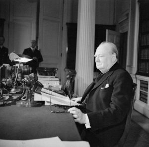 Churchill about to make his speech on VE Day