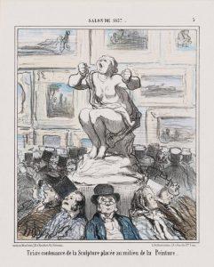 Salon de 1857...Triste Contenance de la Sculpture, By Daumier. Lithograph, second state, album impression, hand-coloured Museum of Fine Arts, Boston. Bequest of William Perkins Babcock.