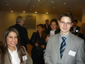 At the buffet reception, with networking young lawyers Marianna Katsimiha and Stefan Wickenfeld