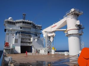 A 400-tonne MacGregor subsea crane on board North Sea Shipping's North Sea Giant has a similar design with the main AHC winch installed under deck