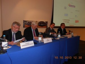 l to r: George Dimitrakopoulos, Rudi Bogni, Dr. Platon Monokroussos and Prof. Kevin Featherstone