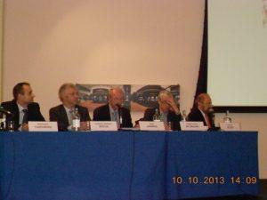 l to r: Athanassios Vamvakidis,  Prof. Albrecht Ritschl, Josef Janning, prof. Paul de Grauwe and chairman Howard Rosen