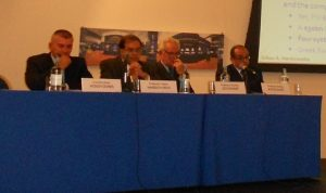 l to r; Constantinos Vousvounis, prof. Gikas A. Hardouvelis, Prof. Charles Goodhart and Prof. Emilios Avgouleas