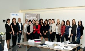 Some of the participants in the leadership workshop, with Irene Rosberg (left) and Despina Panayiotou Theodosiou (isecond from left) - picture by Christos Hadjichristou