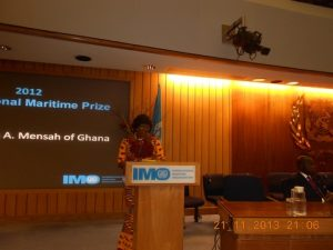The Honourable Mrs. Dzifa Attivot, Minister of Transport of the Republic of Ghana  addressing the audience