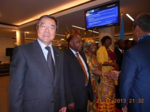 The Secretary-General of the IMO and Dr. Mensah, his wife and officeceptionials from Ghana greeting guests as they enter the reception hall
