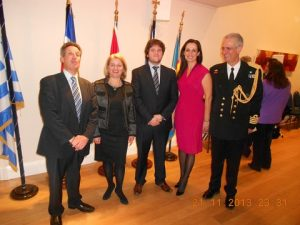 Hermes' Director shipbroker Nicholas Skinitis with his wife Pyghi, son George and the hosts Captain (HN) Apostolos Trivlidis and his wife Marianna Stamati.