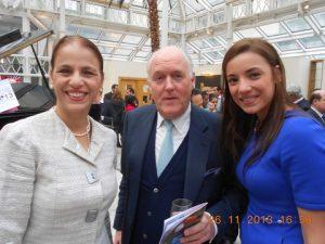 Mrs. Irene Delgado, Mr. Eddie Charlton form Williams Grand Prix Holding and H.E. Ana Maria Delgado