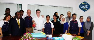 (Centre) John Tansey, GAC Malaysia's Managing Director and Captain Dan Hjalmarsson, GAC's Group Vice President – Asia Pacific, celebrating the opening of their new office in Labuan with the team.