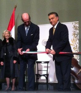 HRH The Duke of Kent cuts the ribbon at the inauguration of the refurbished Franz Liszt small hall of the Liszt Academy of Music, watched by Prime Minister Orbán and Lady Solti