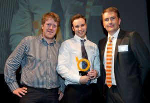 Fugro Seacore project design engineers Steffen Phillips and Dan Harris with Justin Leonard from Igus UK, sponsor of BEEA for Mechanical Product of the Year Award.