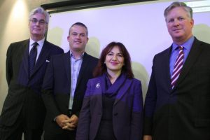 Greg Wingfield; Neil Hoskins and Toufak Ahangari of Institute of Export London branch; and Ben English