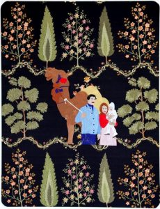 """In Baalbek (""""Dancing, smoking, kissing"""" series).Silk thread embroidery on embroidered silk cloth. By Raed Yassin. Courtesy of Kalfayan Galleries, Athens-Thessaloniki"""