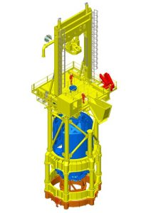 The new T120 drill on top of the Conductor (framework that lifts it above the waves) all in yellow, and also showing the down hole equipment in blue. It will be configured as shown here and attached to the orange steel frame which is fixed to the deck of the transport installation vessel (TIV)