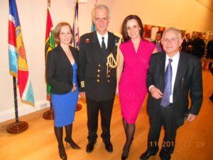 Hellenic Centre's Christina Vagioti, Captain (HN) Apostolos Trivlidis, his wife mrs. Marianna Stamati, and Captain Michael Kounoupas