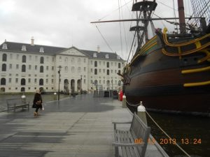 """Another view of the Museum and the """"Amsterdam"""" taken from the pier"""
