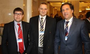 Maxim Mirzoev (director of claims and insurance department at TA Management), Nikita Minin (director of transport insurance department at Rosgosstrakh) and George Lambrou (partner, Thomas Cooper)