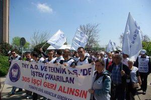 Hava-Is members protesting against Turkish Airways