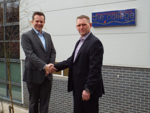 Matthew Butcher, Sales and Customer Account Manager, Bournemouth & Poole College and Mark Knowles, Training Director, Solace Global, outside of the training facilities at North Road