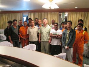 EVER SUMMIT's Captain Horng, Tsong-Been (middle) together with the rescued Indian seafarers