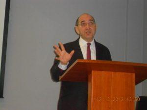 Simon Lew delivering his slides speech