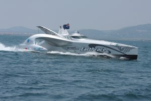 Earthrace at the finish line
