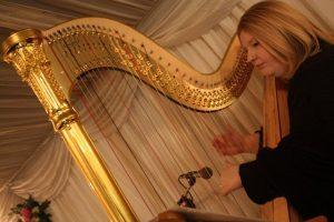 Elegant playing of harpist Rebeca Jones