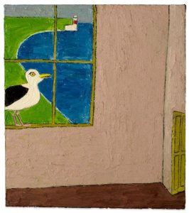 Seagull by Window. Oil on canvas. By Stephen Newton