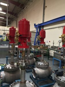 Actuated globe valve with Emerson actuator in production