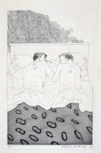Two Boys Aged 23 or 24, from Illustrations for Fourteen Poems from CP Cavafy, 1966-67. Etching.