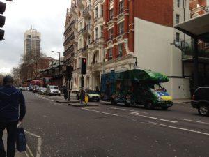 London traffic at a standstill   off Knightbridge