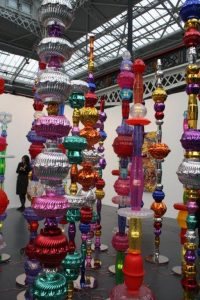 Alchemy. Found LED lights, plastic bowls and steel. By Choi Jeong Hwa. Shown at Art14 by Pearl Lam Galleries.