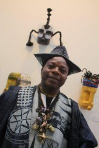 Romuald Hazoumè with his jerry-can 'masks.'