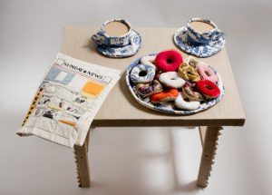 Donuts, Coffee Cups and Comic, 1962. Soft sculpture of fabric, thread and kapok. By Jann Haworth. Wolverhampton Arts & Museums. Purchased with assistance from the MLA/V&A Purchase Grant Fund and the Friends of Wolverhampton Art Galleries. Copyright Jann Haworth.