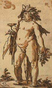 Bacchus, c 1589-90. Chiaroscuro woodcut printed from two blocks, the tone block in light brown. By Hendrick Goltzius. Collection Georg Baselitz. Photo Albertina, Vienna.