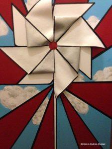 Paper Windmill. Mixed media on canvas. By Mónica Andrés Alvarez