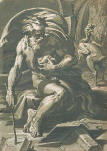 Diogenes, early 16th century. Chiaroscuro woodcut, four blocks (green and blue). By Ugo da Carpi. First state private collection. Photo Albertina, Vienna.