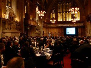 Sir Ranulph Fiennes Bt OBE giving his after dinner speech