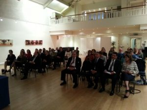 A view of the audience at the  Great Hall of London's Hellenic Centre