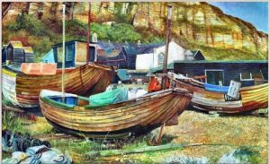 Boats on the Beach, Hastings. Oil on canvas. By Tim Feltham.