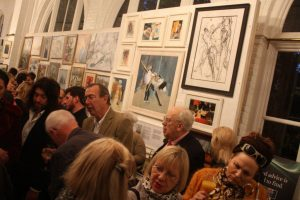 Private view evening at Friends of Holland Park exhibition.