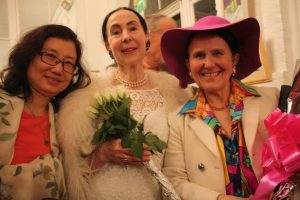 Ceramicist Elżbieta Stanhope (centre) with friends Jane Lo-Singleton and Teresa Beckett.