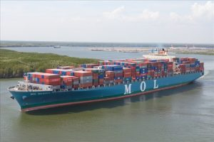 "One of  MOL containerships The ""MOL Majesty"""