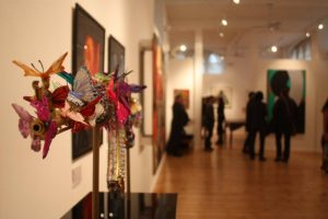 October Gallery, with Laila Shawa's work Where Souls Dwell V, in foreground.