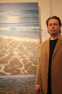 Theo Platt with his Surf Triptych.