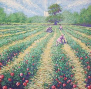 Strawberry Pickers. Thick oil on canvas. By Bobby Jessamine.