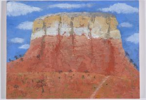 Mesa, New Mexico. Oil on gessoed panel. By Caroline McAdam Clark.