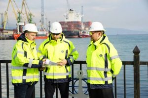 Supply Base Manager Alexander Pavlov (left) discusses planned upgrades to GAC's Novorossiysk supply base to meet the anticipated needs of Russian oil majors as fields in the Black Sea are developed.