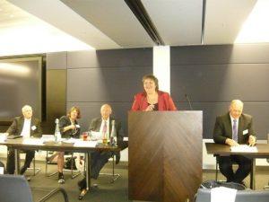 Maria Dixon, President of WISTA-UK introducing the event